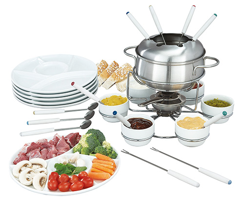 28 teiliges komplettset edelstahl fondue set fondueset edelstahlfondueset neu ebay. Black Bedroom Furniture Sets. Home Design Ideas