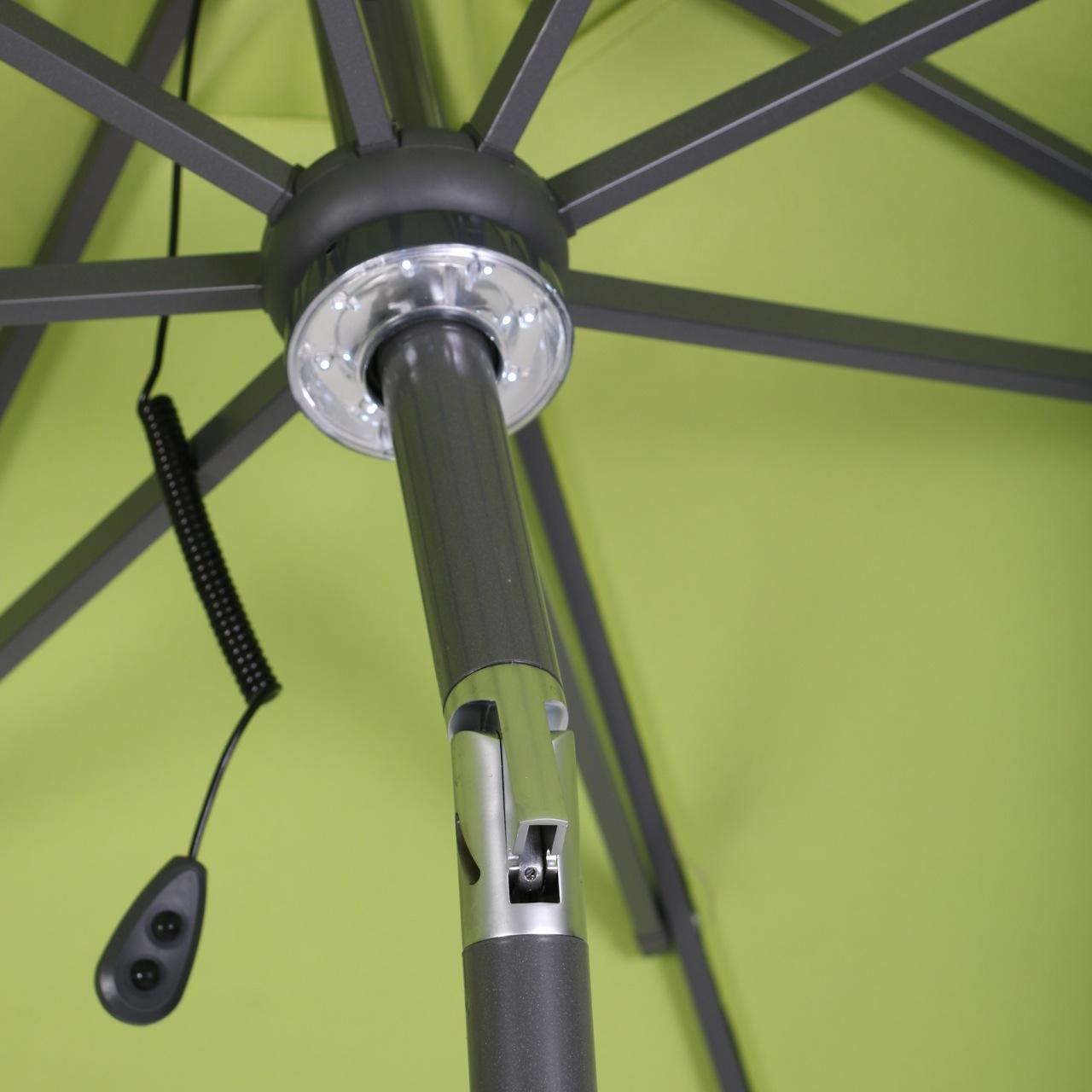 marktschirm mit solarbeleuchtung terrassen schirm sonnenschirm garten 300cm ebay. Black Bedroom Furniture Sets. Home Design Ideas