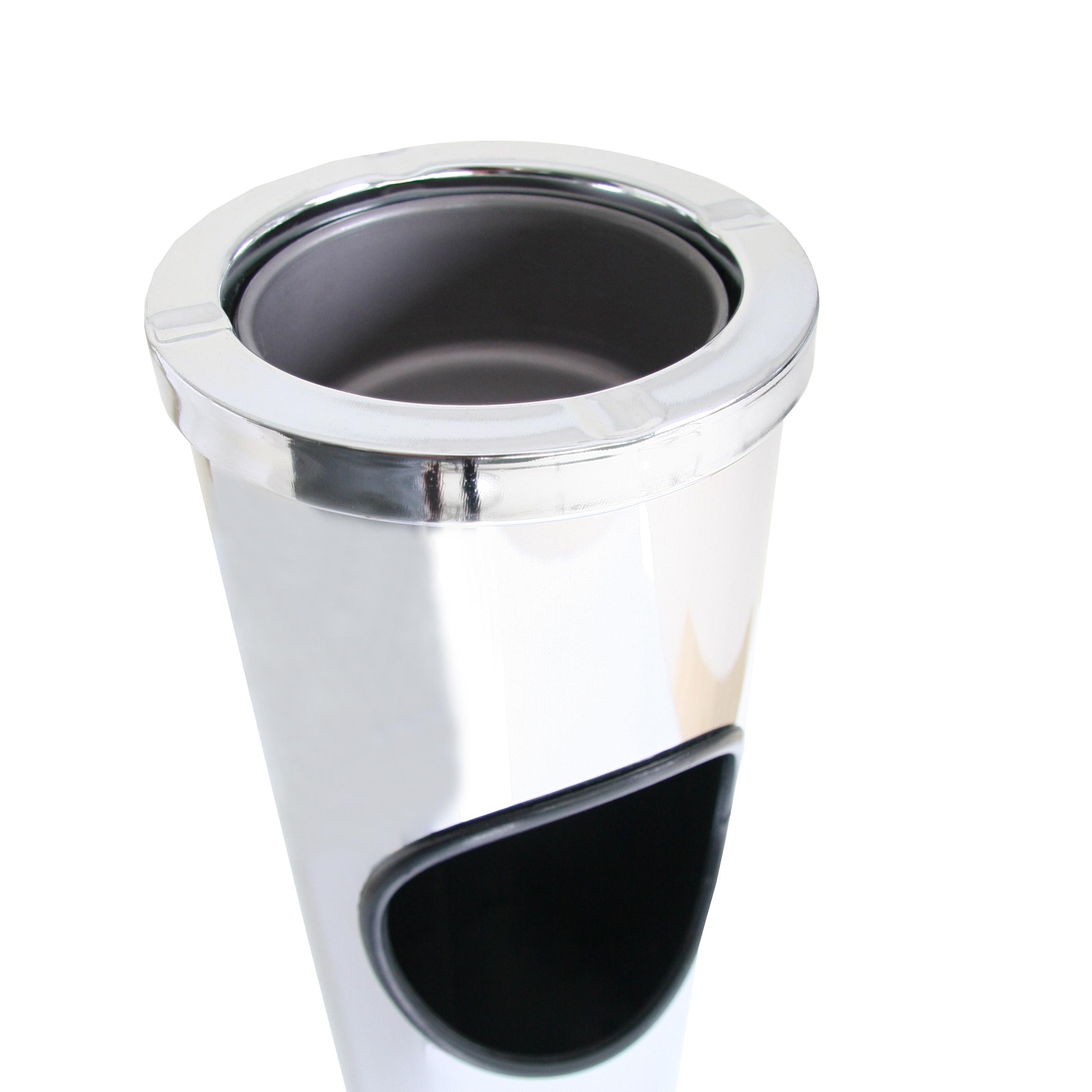 standabfallbeh lter mit aschenbecher edelstahl standascher. Black Bedroom Furniture Sets. Home Design Ideas