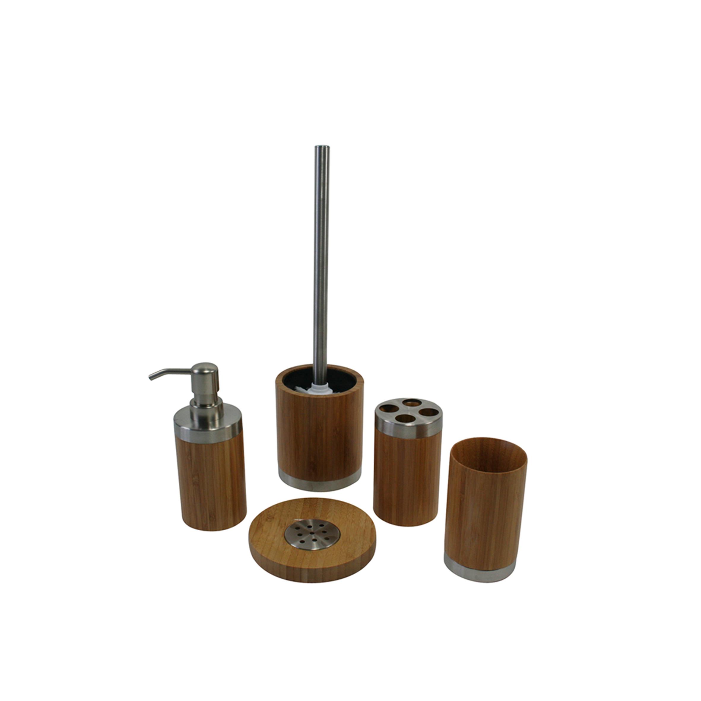 bambus badset badezimmerset wc garnitur 5 teilig neu ebay. Black Bedroom Furniture Sets. Home Design Ideas