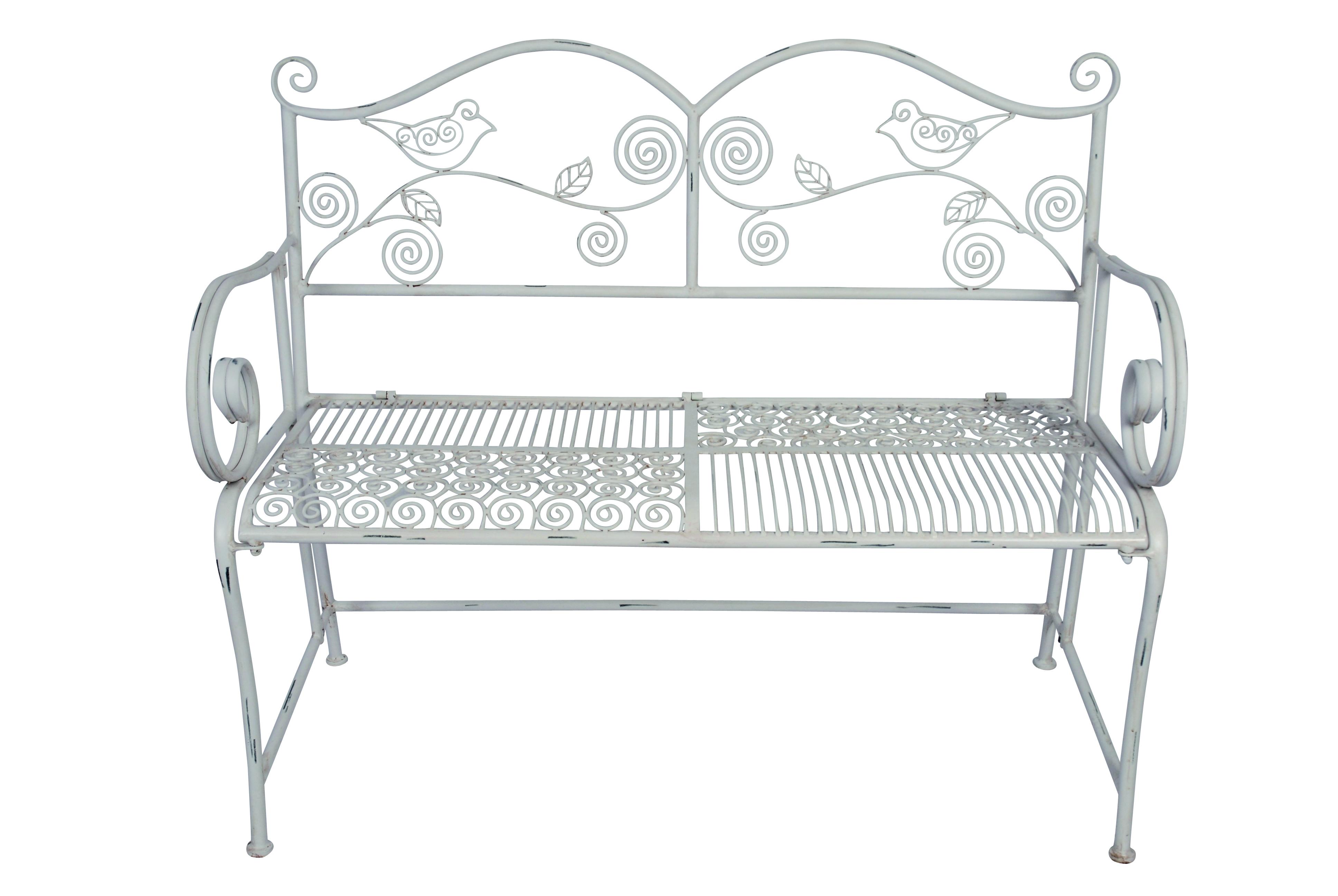 garten bank gartenbank metall metallbank antikweiss 110x52x91 cm neu. Black Bedroom Furniture Sets. Home Design Ideas