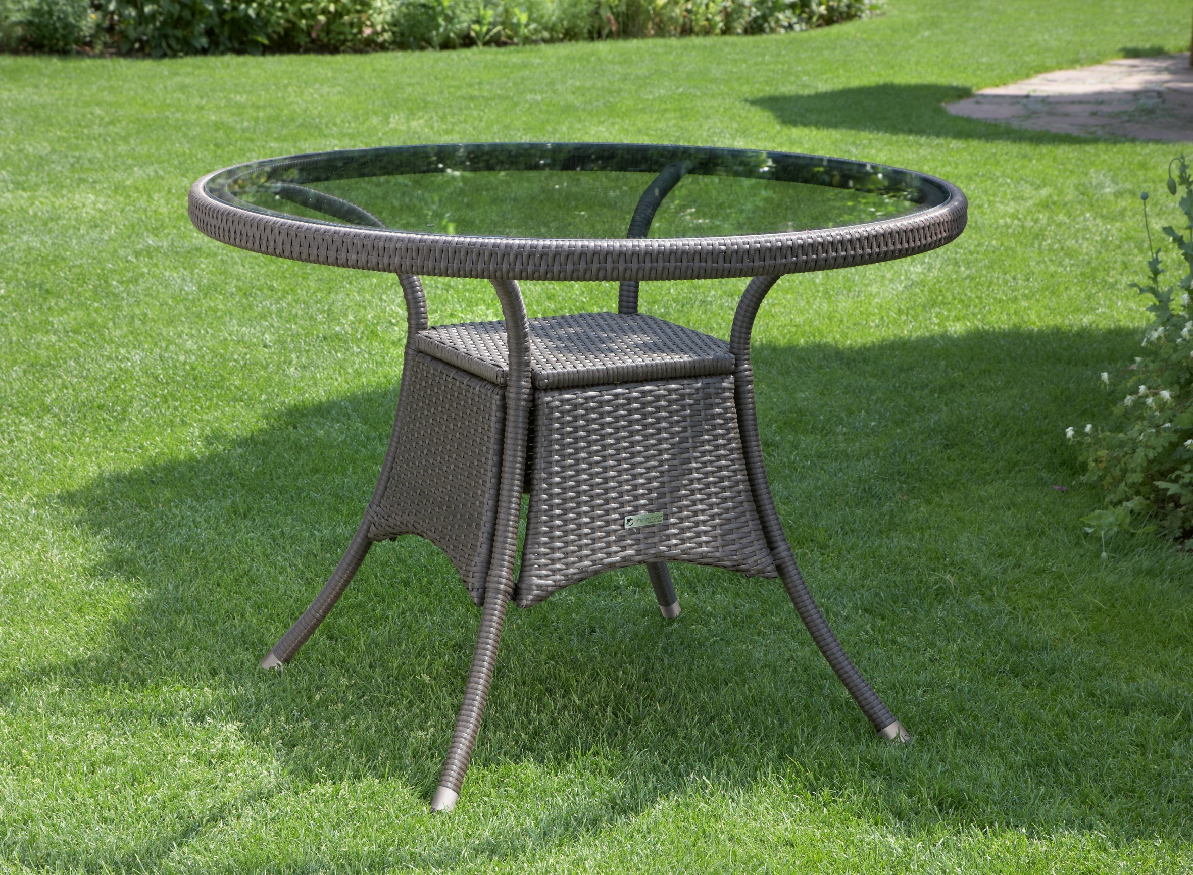 garten rattan rattantisch glas tisch gartentisch glastisch 100 cm braun neu ebay. Black Bedroom Furniture Sets. Home Design Ideas