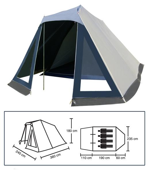 zelt camping campingzelt familienzelt 110 190 60x240x180. Black Bedroom Furniture Sets. Home Design Ideas